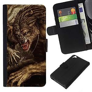 A-type (Vignette Retro Rustic Halloween) Colorida Impresión Funda Cuero Monedero Caja Bolsa Cubierta Caja Piel Card Slots Para HTC Desire 820