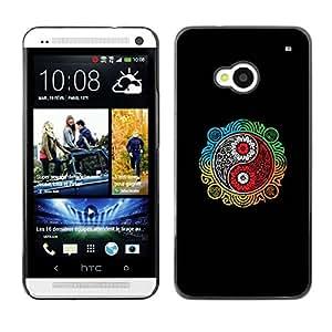 EJOY---Cubierta de la caja de protección la piel dura para el / HTC One M7 / --Colorido Ying Yang