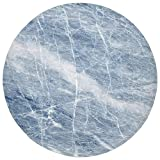 Round Rug Mat Carpet,Marble,Light Blue Marble Pattern with White Cracks on its Surface Geography Stone Decorative,Light Blue White,Flannel Microfiber Non-slip Soft Absorbent,for Kitchen Floor Bathroom