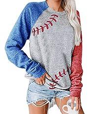 Raglan Shirts Baseball Tee Women Round Neck T-Shirt 3/4 Sleeve Tops Patchwork Print Blouse