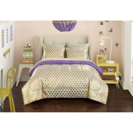 Durable, Versatile and Trendy Your Zone Gold Hearts Reversible Bed in a Bag Bedding Set, Gold/Purple TwinXL ()