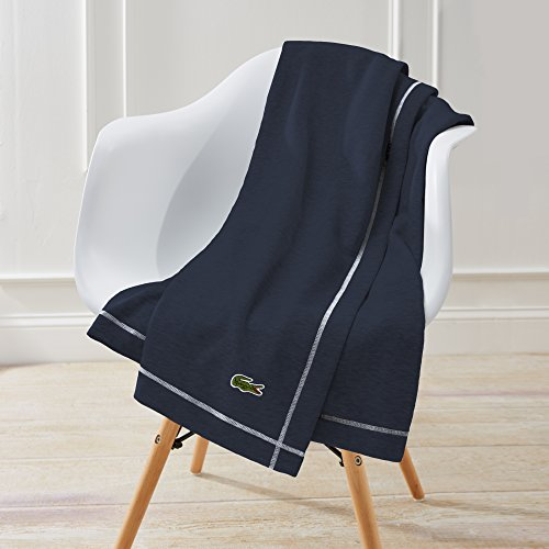 Lacoste Solid Fleece Throw, 50 x 70 inches, Navy