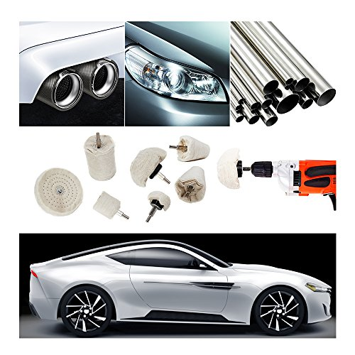 Buffing Polishing Wheel For Drill - 8Pcs White Flannelette Polishing Mop Wheel Cone/Column/Mushroom/T-shaped Wheel Grinding Head With 1/4 Handle For Manifold / aluminum / stainless steel / chrome etc. by TONGTU (Image #2)