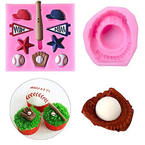 2Pcs/Set Baseball Fondant Mold for Cake Cupcake Decorating, Baseball Softball Glove Silicone Chocolate Candy Sugar Paste Mold, Sport Themed Party Soap