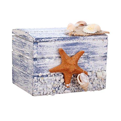 Mini Sea Wooden Pirate Treasure Jewellery Storage Chest Craft Box Case Organiser Starfish - Storage Chest (Chest Cedar Wicker White)