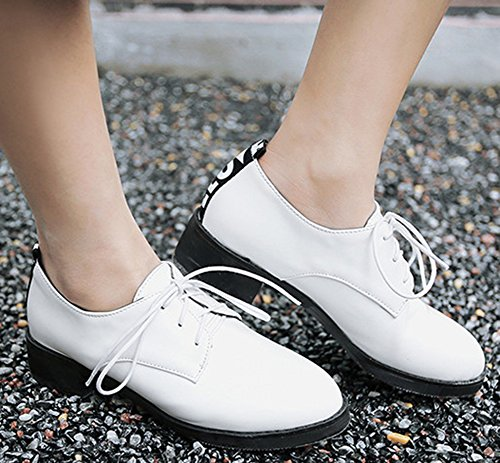 IDIFU Womens Dressy Closed Round Toe Low Top Chunky Heels Lace Up Oxfords Shoes White lSdg3