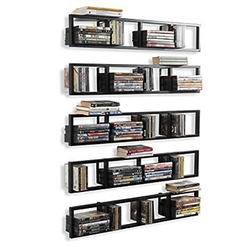 Wall Mount 34 Inch Media Storage Rack CD DVD Organizer Metal Floating Shelf Set of 5 Black
