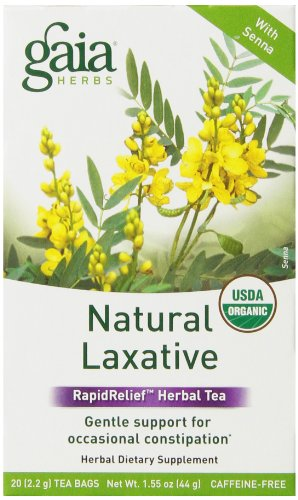 Gaia Herbs Natural Laxative RapidRelief Herbal Tea Bags, 20 Count