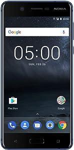 "Nokia 5 - Android 9.0 Pie - 16 GB - Dual SIM Unlocked Smartphone (AT&T/T-Mobile/MetroPCS/Cricket/Mint) - 5.2"" Screen - Blue (TA-1044-SIL)"