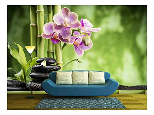 wall26 - Zen Basalt Stones,Orchid and Bamboo - Removable Wall Mural | Self-Adhesive Large Wallpaper - 100x144 inches -