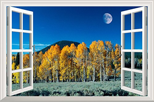Yellow Pine Tree under Moonlight at Night Open Window Mural Wall Sticker