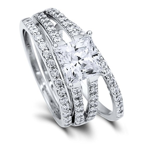 BERRICLE Rhodium Plated Sterling Silver Cubic Zirconia CZ Solitaire Engagement Ring Set Size 8 - Wide Split Shank Ring