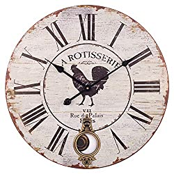 BEW Large Wall Clock, Vintage Rooster Roman Numerals Silent Non-Ticking Battery Operated Quartz Movement, Rustic Decorative Pendulum Clock for Living/Dining/Bedroom/Kitchen (24 Inch)