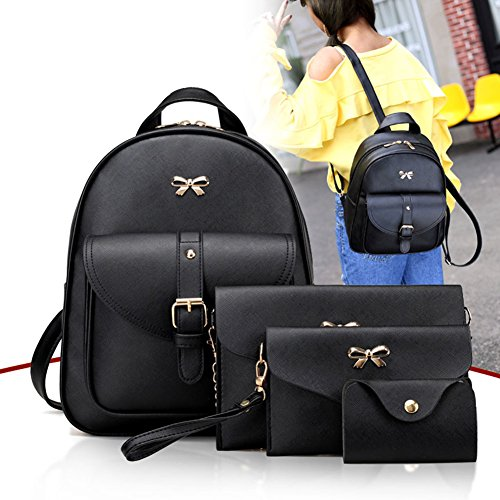 Clutch Bowknot Backpack Highplus Black leather Bag 4pcs Bag Women PU Holder Shoulder Card pw88qBIX