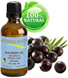 "Botanical Beauty ACAI BERRY OIL 100% Pure / Natural / Cold Pressed. For Face, Body And Hair. (10ml / 0.33 Fl.oz.) From Amazon Rainforest. ""Number One Superfood For The Skin And Hair."""