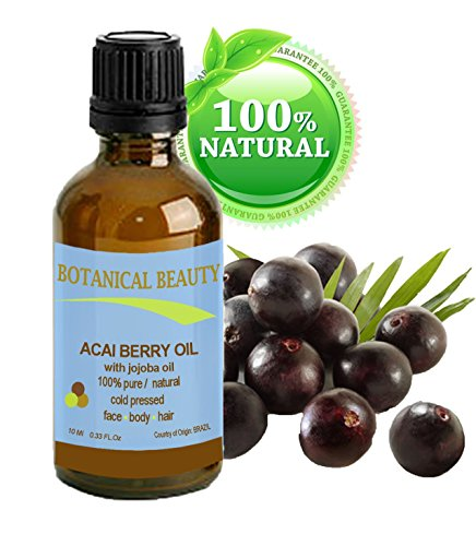 Botanical Beauty ACAI BERRY OIL 100% Pure / Natural / Cold Pressed. For Face, Body And Hair. (10ml / 0.33 Fl.oz.) From Amazon Rainforest.