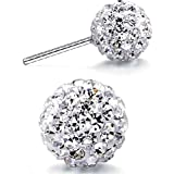 Winter's Secret White 8MM Ball Shape Charming Girls and Women Sexy Stud Earring