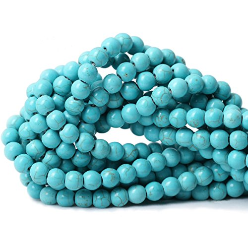 Qiwan 45PCS 8mm Turquoise Gemstone Loose Round Beads Crystal Energy Stone Healing Power for Jewelry Making 1 Strand 15