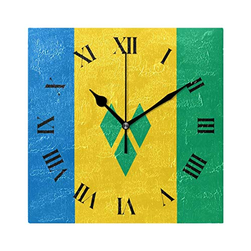 Nugier Saint Vincent and The Grenadines Flag Square Wall Clock Silent Non Ticking Custom Acrylic Painted Easy to Read Non-Ticking Home Art Bedroom Living Dorm Room Decor 7.87
