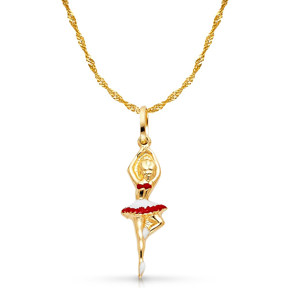 14K Yellow Gold Ballerina Red and White Color Enamel Charm Pendant with 1.2mm Singapore Chain Necklace