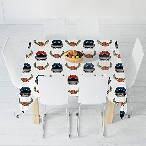 TecBillion Printed Tablecloth,American Football,for Rectangle Table Kitchen Dinning Party,31.5 X 32.5 Inch,Rugby Equipment Elements Championship Professional League Fun