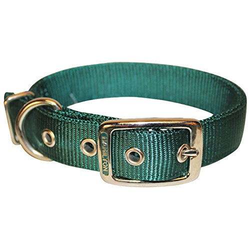 Double Thick Nylon Deluxe Dog Collar, 1 x 24 Hunter Green
