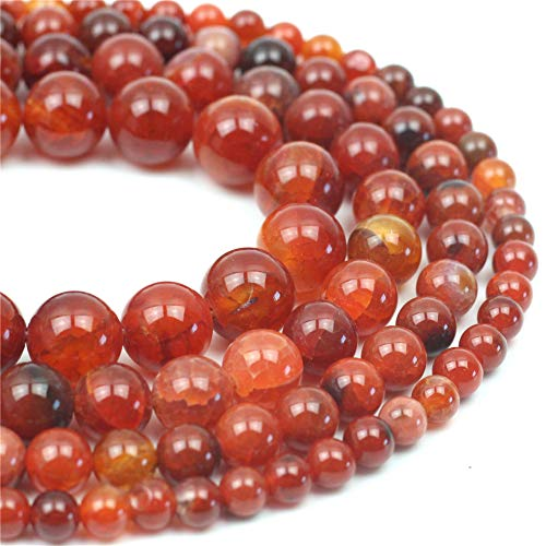 (Oameusa Natural Round Smooth 6mm Deep Red Dragon Pattern Agate Beads Gemstone Loose Beads Agate Beads for Jewelry Making 15
