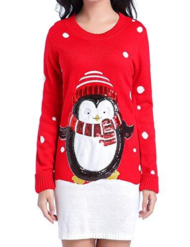 Ugly Christmas Sweater, V28 Women Shining Penguin Xmas Sweater Knit Jumper Dress(Red M)