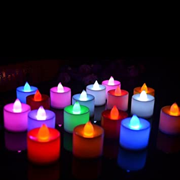 Improvhome Multicoloured Battery Operated Led Tealight Candles / Christmas Decoration Pack Of 12 Candle Multi
