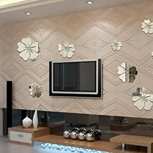 Amazon.com: Acrylic Mirror Effect 3D Wall Decals Flower ...