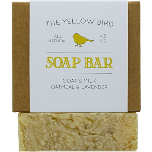 Lavender Goats Milk Soap Bar with Oats - Gentle Exfoliating Bath Soap. Moisturizing Dry Skin Face & Body Wash. Mild Natural and Organic Soap. Artisan Handmade -