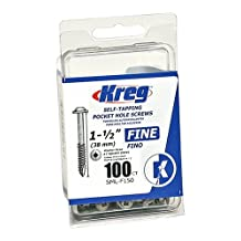 Kreg SML-F150 - 100 1 1/2-Inch Pocket Screws No.7 Fine, Washer-Head, 100 Count