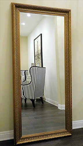 West Frames Elegance Ornate Embossed Wood Framed Leaner Floor Mirror (Antique Gold)