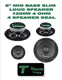 Timpano TPT-MB8 Slim 8'' 4 Ohm 1200W Mid Bass Full Range Loudspeaker 2 Pair