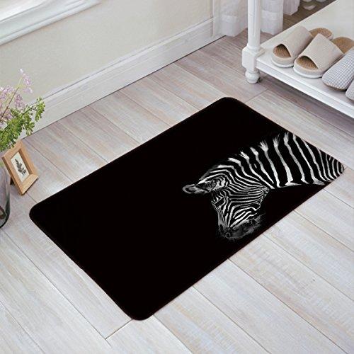 (Decor Love Black and White Zebra Welcome Mats Non-Skid Slip Rubber Entrance Mats Rugs Shoes Scraper Indoor/Front Door/Bathroom/Kitchen/Bedroom 20'' x 31.5'')