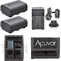 2 NP-FH50 Batteries + Car / Home Charger + Battery Pouch for Sony DCR-HC20, DCR-HC20E, DCR-HC21,DCR-HC21E, DCR-HC22, DCR-HC22E, DCR-HC23, DCR-HC23E, DCR-C24, DCR-HC24E and Other Models