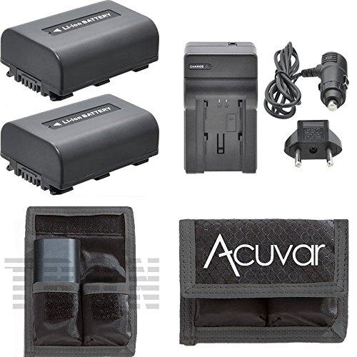 2 NP-FH50 Batteries + Car / Home Charger + Acuvar Battery Pouch for Sony DCR-SR42A, DCR-SR45, DCR-SR46, DCR-SR47, DCR-SR48, DCR-SR48E, DCR-SR50, DCR-SR52, DCR-SR55, DCR-SR55E, DCR-SR57, DCR-SR57E and Other Models