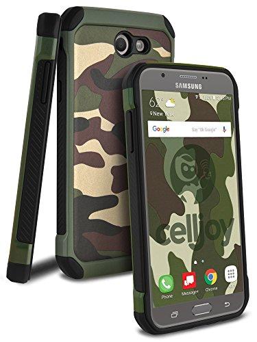 Green Camo Protective Case - Galaxy J7 2017 Case, Galaxy J7 V Case, Galaxy J7 Sky Pro Case, Galaxy J7 Perx Case, Celljoy [Deluxe Shock Armor] Dual Layer Protective ((Shockproof)) Hybrid Thin Cover (Camo Green)