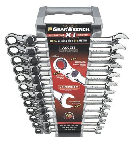 - GearWrench 85698 12 Piece XL Locking Flex-Head Ratcheting Combination Wrench Set Metric