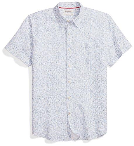 - Goodthreads Men's Standard-Fit Short-Sleeve Linen and Cotton Blend Shirt, Blue Floral, Medium