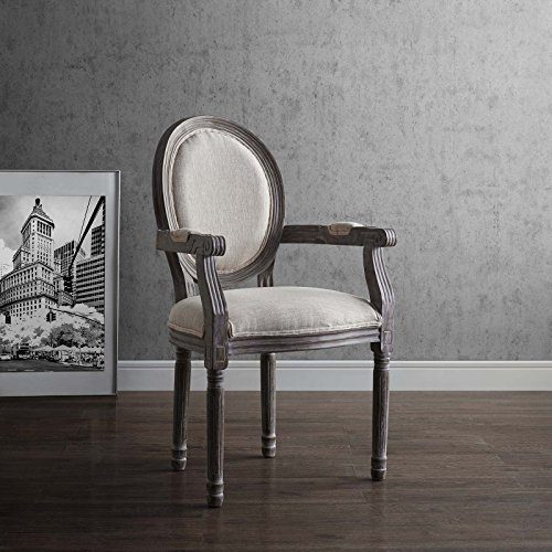Modway Emanate French Vintage Upholstered Fabric Kitchen and Dining Room Arm Chair in Beige – Fully Assembled