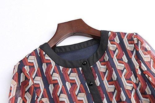 Cotiledone Di Banda Per Modo Vestito Lungo Girocollo 3 Stampati Vita Primavera Alta La 4 Autunno Manica Women`s Vestito Abiti dZwnx11