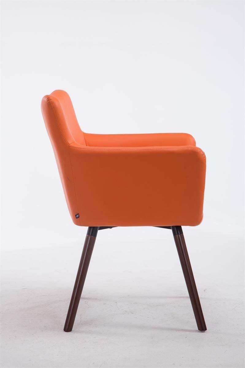 Rovere CLP Sedia Visitatore Design Antwerpen in Similpelle Poltroncina r/étro con Schienale e Braccioli Arancione Bianco