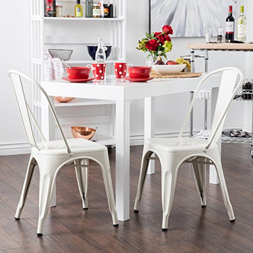 Materials Outdoor Upholstered (Belleze Set of (4) Vintage Style Dining Chairs Steel High Back Chairs Side Stool (White))
