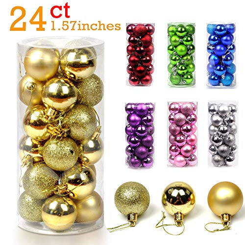24PCS Christmas Ball Ornaments Bulk Baubles Set Gold Shatterproof Hanging Decor Xmas Tree for Holiday Wedding Party Decoration, 1.57'' (Gold) ()