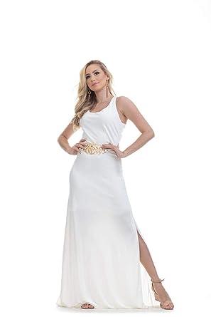 0186ab646 Vestido Clara Arruda Longo Fenda Lateral 50297: Amazon.com.br ...