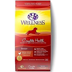 Wellness Complete Health Natural Dry Senior Dog Food, Chicken & Barley, 30-Pound Bag