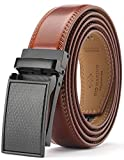 Marino Avenue Men's Genuine Leather Ratchet Dress Belt with Linxx Buckle - Gift Box (Crafted Mason - Burnt Umber, Adjustable from 28' to 44' Waist)