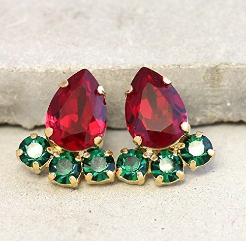 a579d4e79 Bridal Emerald and Ruby Cluster Stud Earrings, Swarovski Crystal  Bridesmaids Gifts, Handmade Wedding Jewelry ...