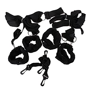 Zcarge On the Bed Restraint System SEX Bondage Kit with Soft Faux Fur Lined Cuffs Fetish Fun SM Tool TM Flirting Kit Set for Men and Women